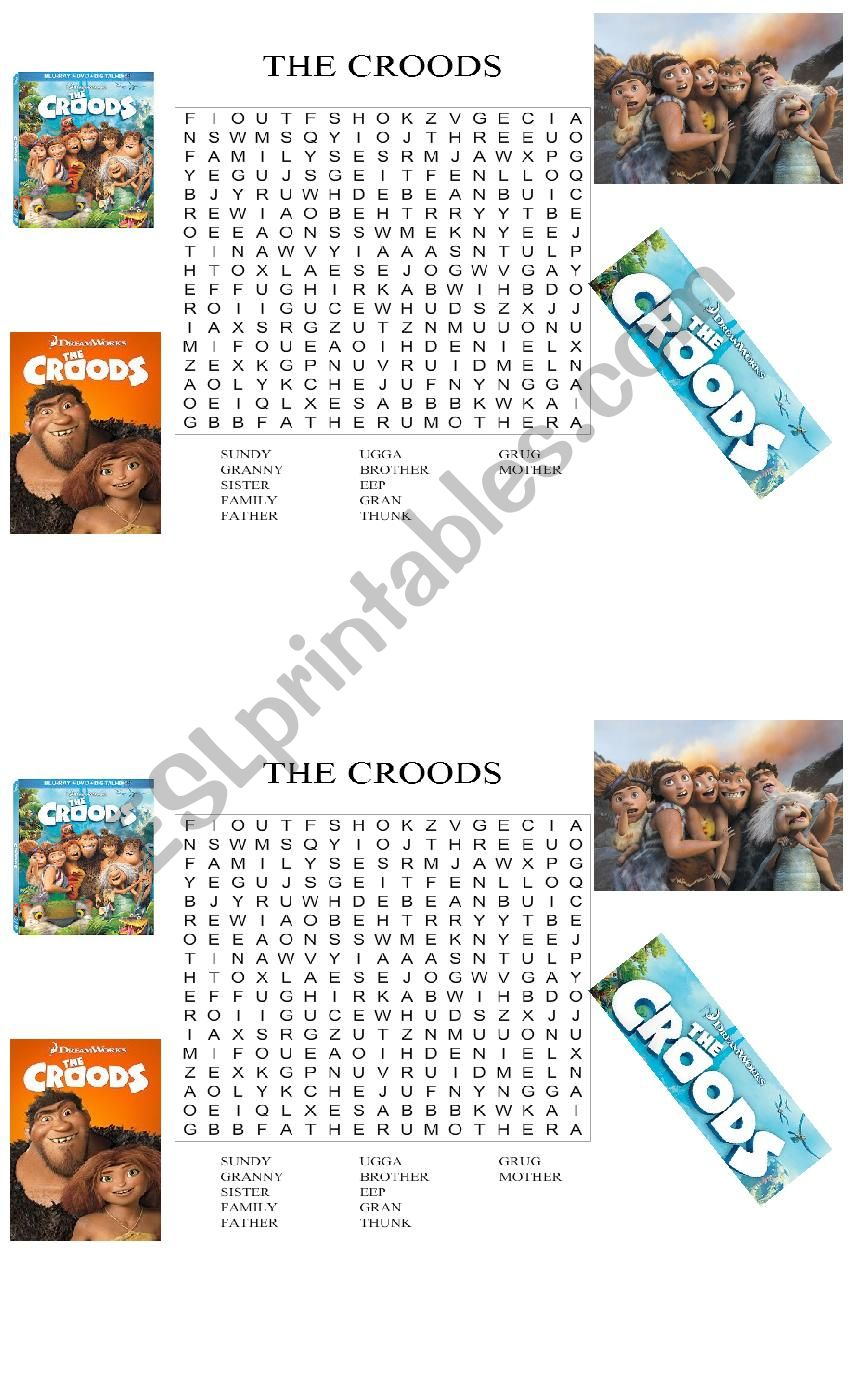 The Croods worksheet