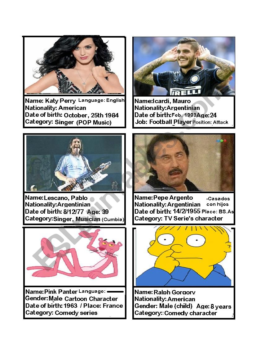 Famous People Id Cards Argentina Game Esl Worksheet By Eliasarabia91