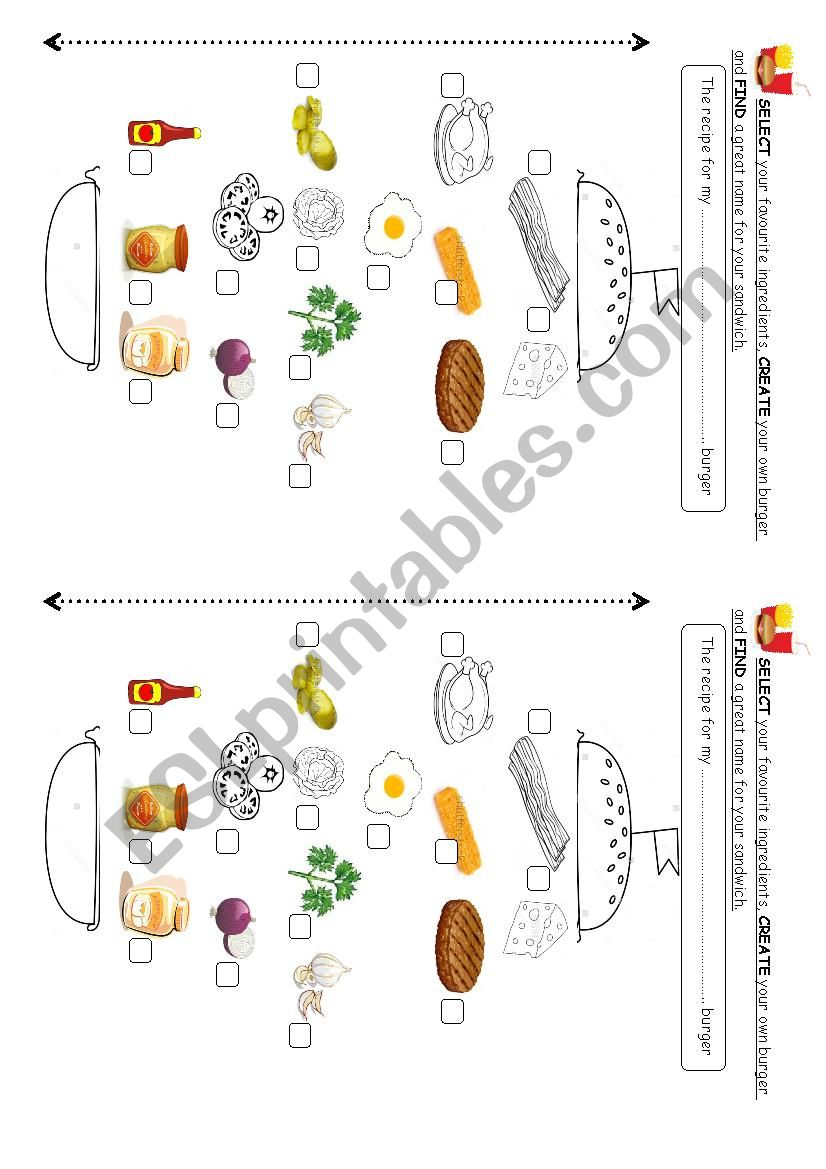 create your own burger ! worksheet