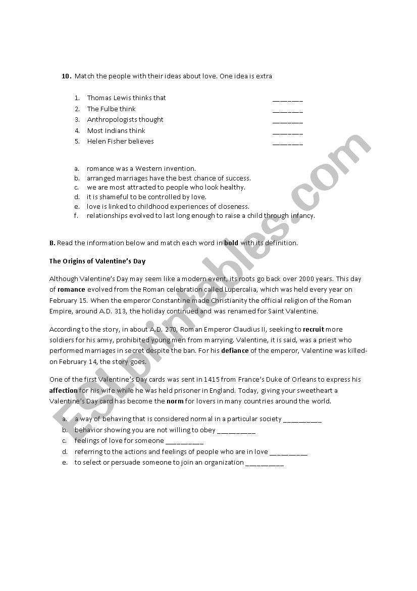 Reading text about love - ESL worksheet by oztekinsule