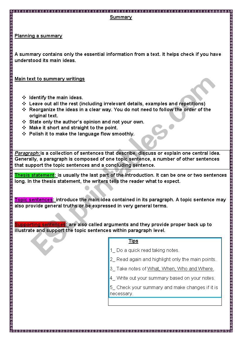 Summary writing worksheet