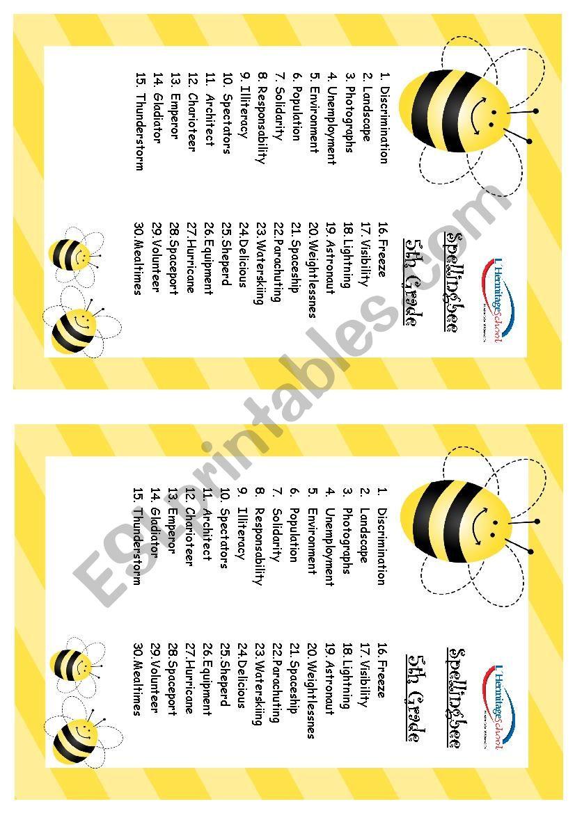 Spelling Bee worksheet