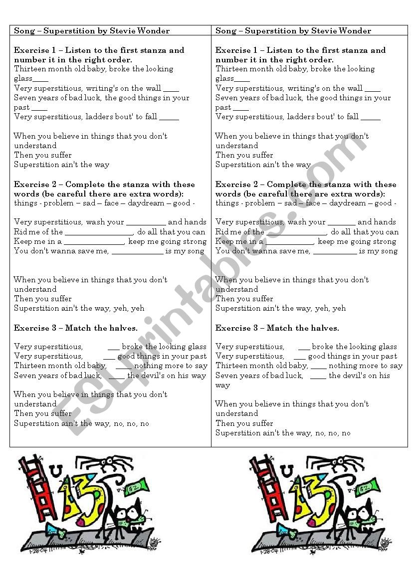 Superstition by Stevie Wonder worksheet