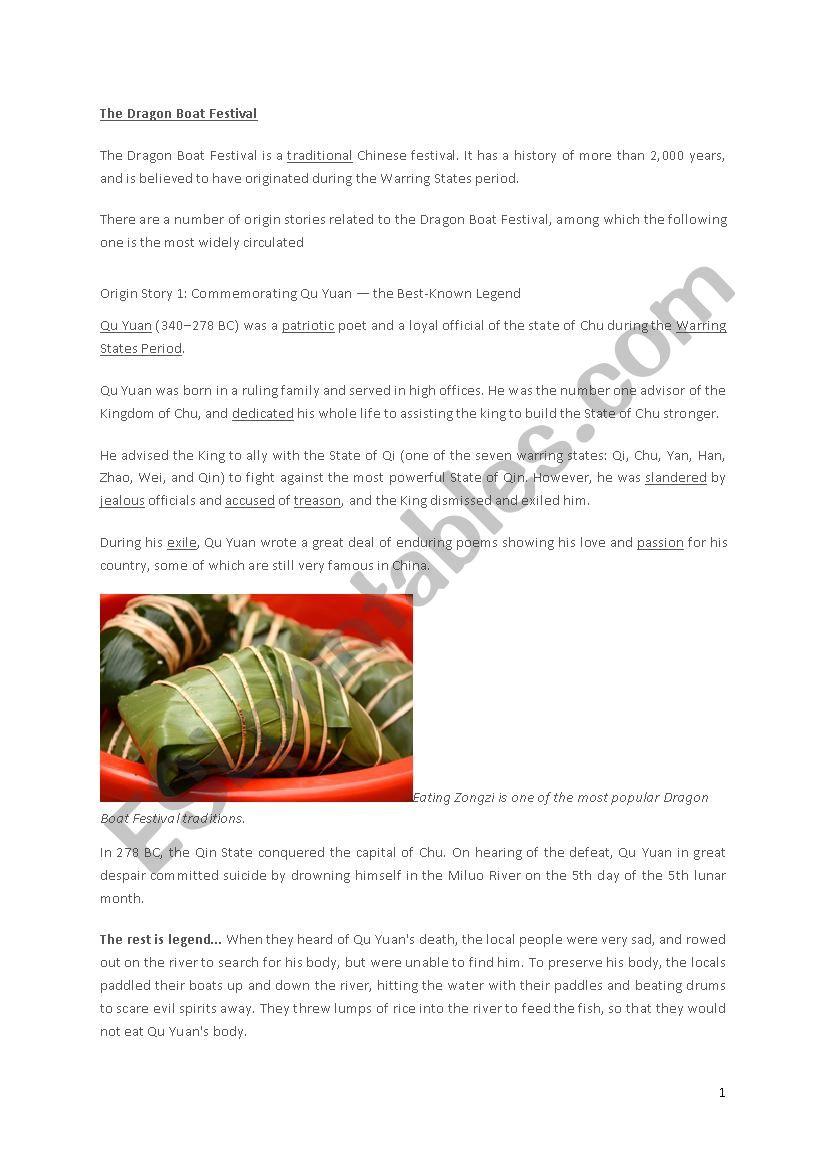 Dragon Boat Festival  worksheet