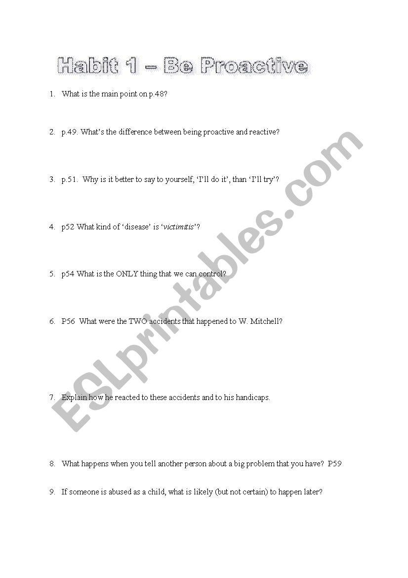 The 22 Habits of Highly Effective Teens - ESL Worksheets. Habit 22 In 7 Habits Worksheet Pdf