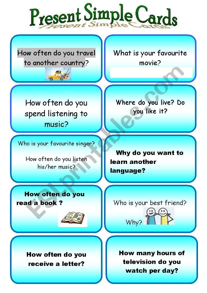 Spaking cards worksheet