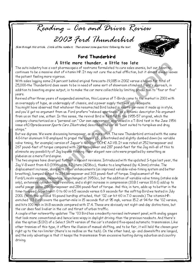 Car Review Reading Exercise worksheet