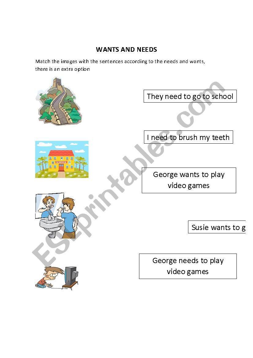 Worksheets Needs And Wants Worksheets needs and wants esl worksheet by teacherandres95 worksheet
