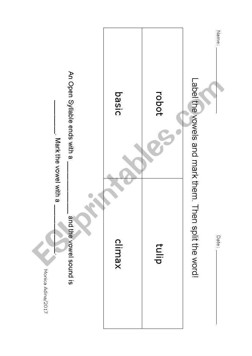 Open Syllable Worksheet - ESL worksheet by oceanus83