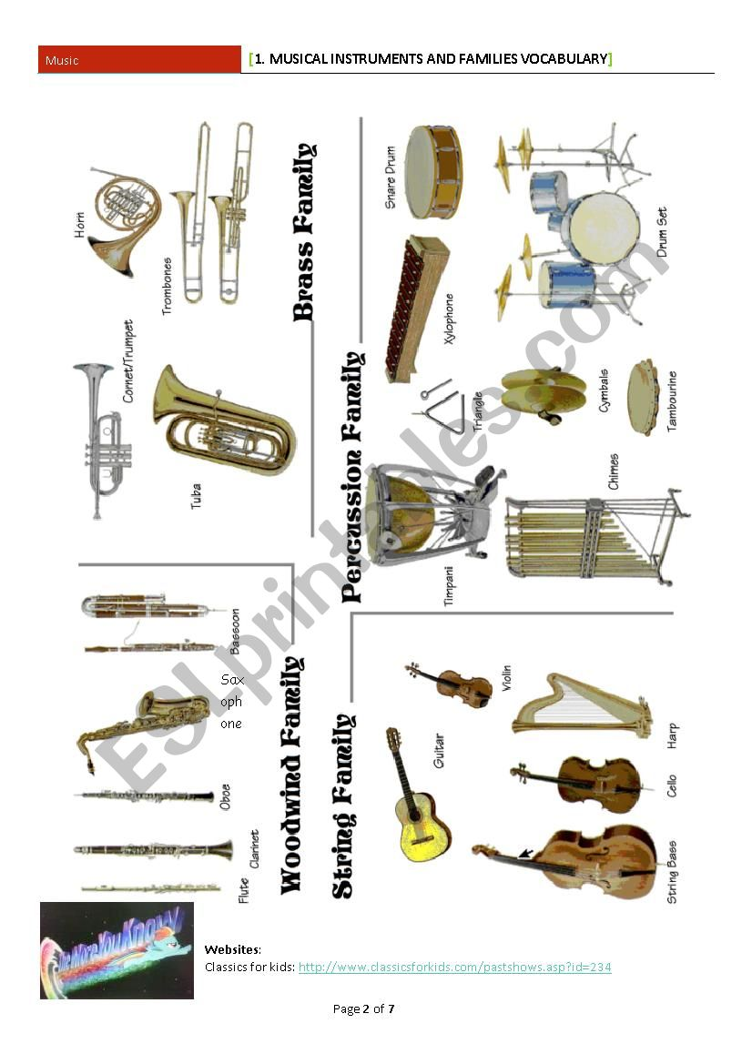 1  Musical Instruments and Families VOCABULARY - ESL