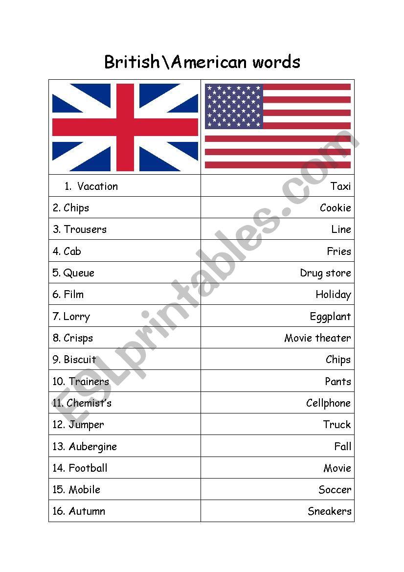 American/British English  worksheet