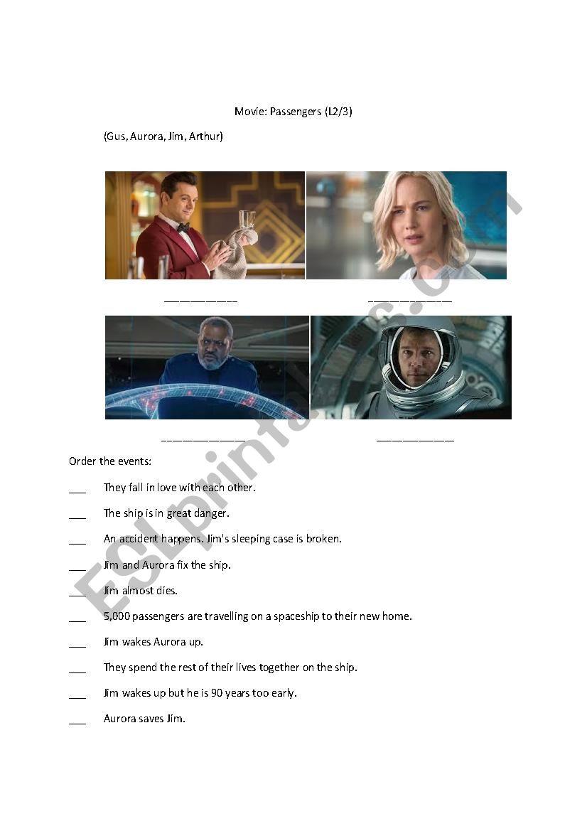 Movie Passengers Worksheet worksheet