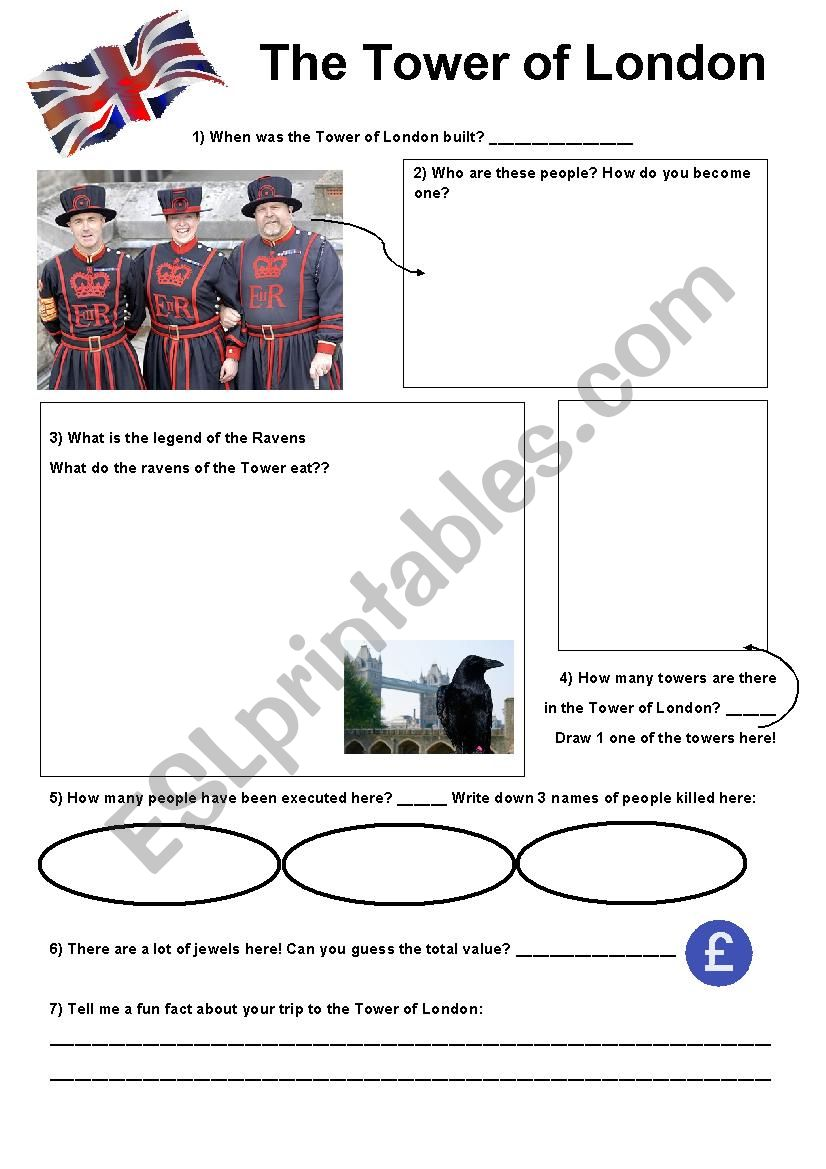 The Tower of London worksheet