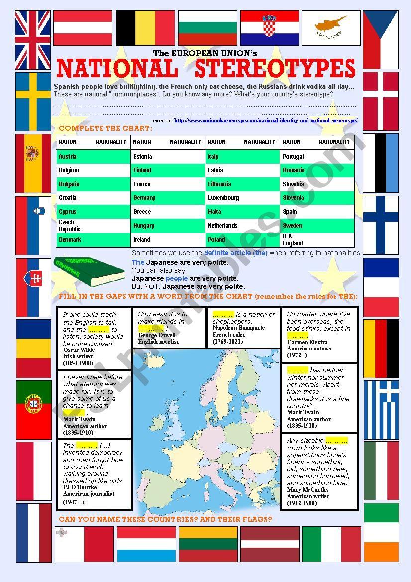 National stereotypes worksheet