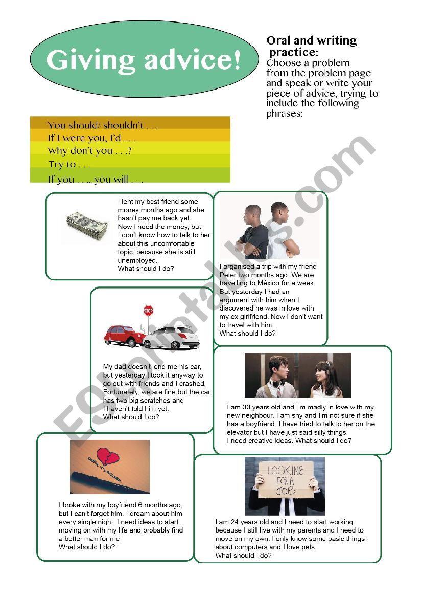 Giving advice - Speaking practice! - ESL worksheet by