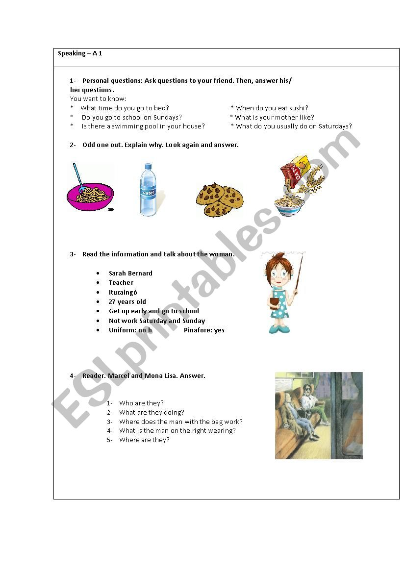 Oral exam card for kids including Marcel and Mona Lisa