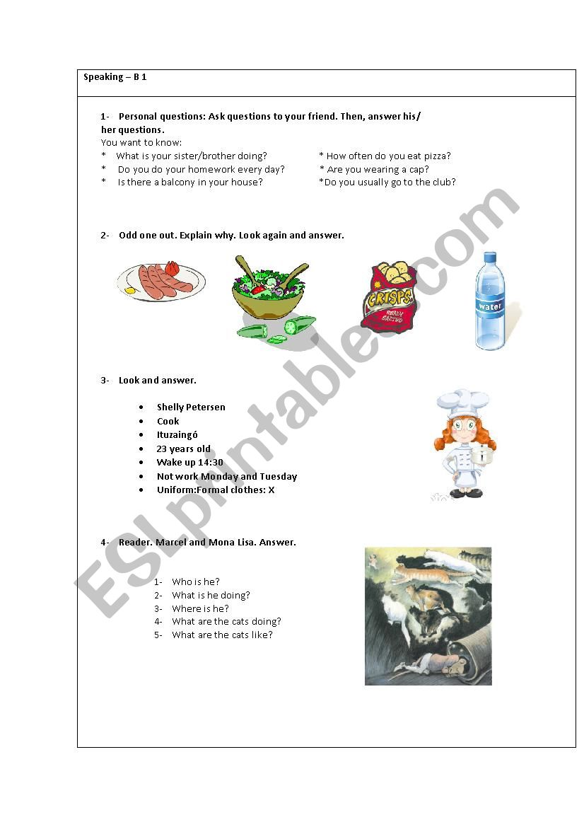 Oral exam card for kids. Marcel and Mona Lisa