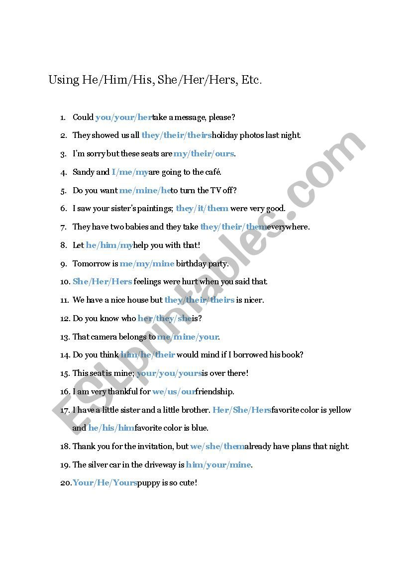Practice With Pronouns  worksheet