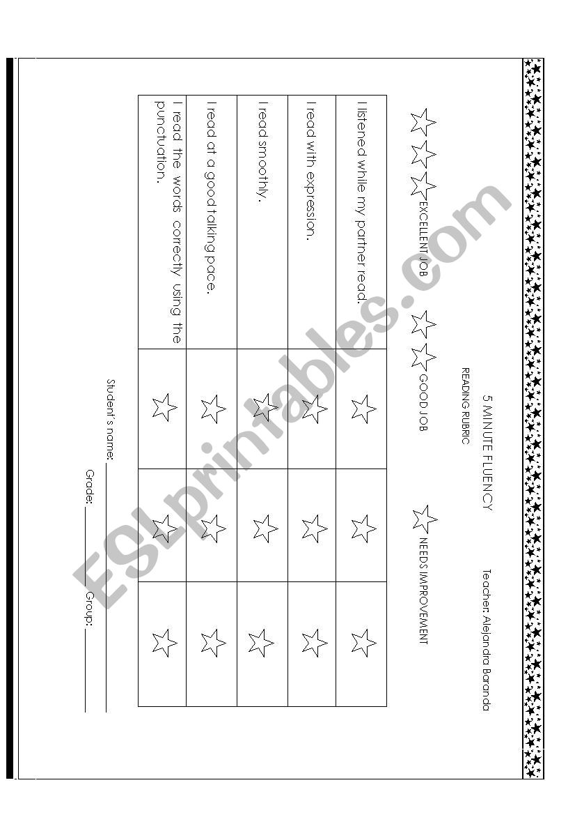 EXAMPLE OF A READING  RUBRIC worksheet