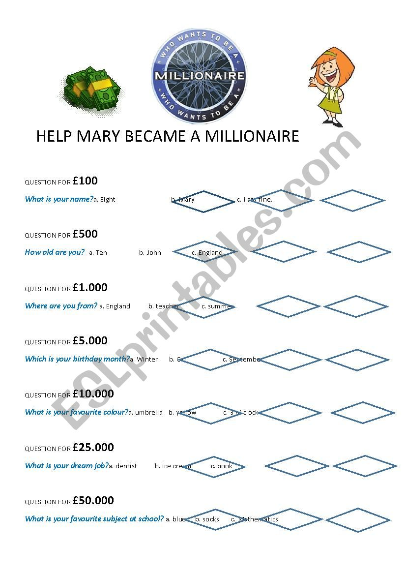 WHO WANTS TO BE A MILLIONAIRE worksheet