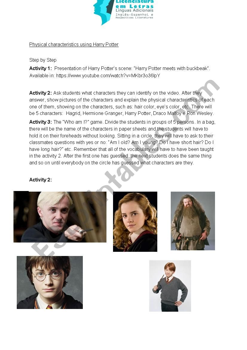Harry Potter lesson plan for physical characteristics
