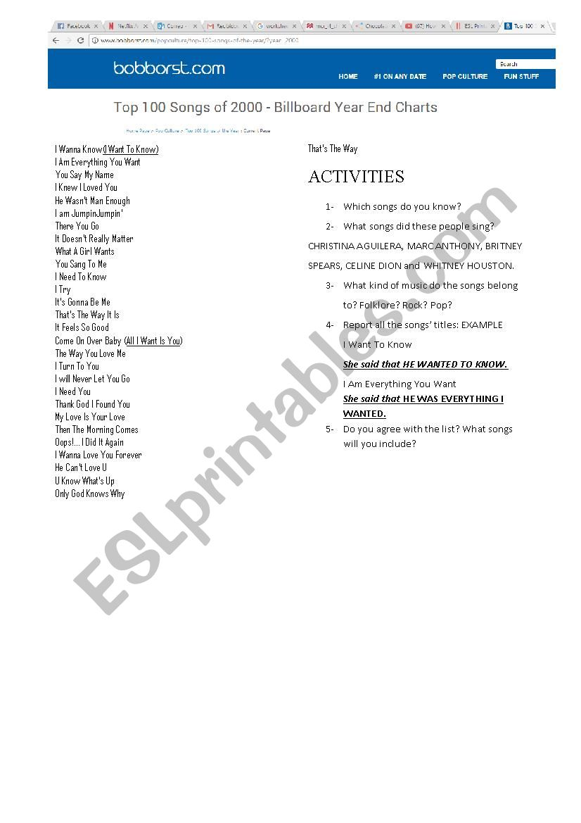 Reported Speech - Topic Songs worksheet
