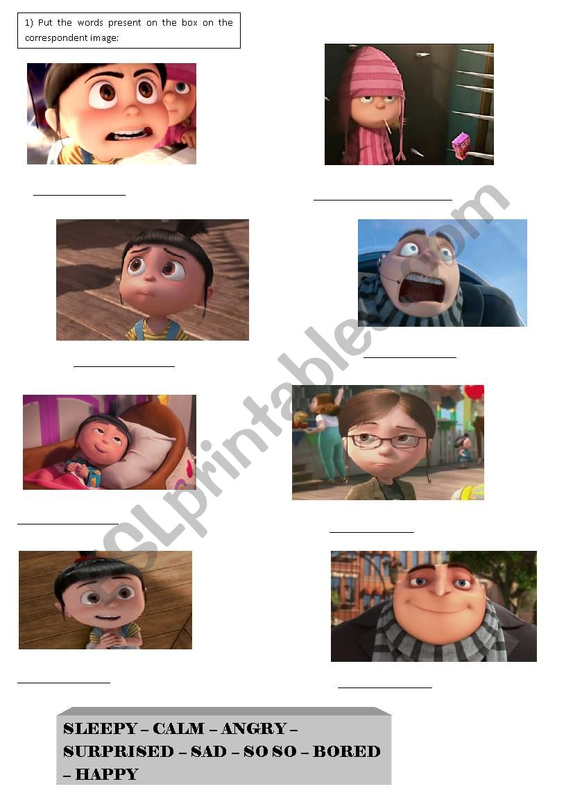 Despicable me - feelings activity