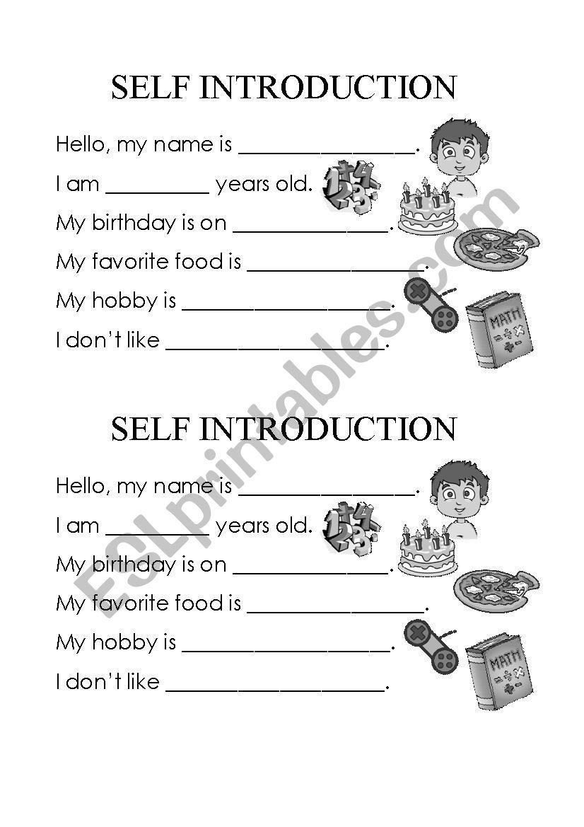 Self Introduction - ESL worksheet by Johanash