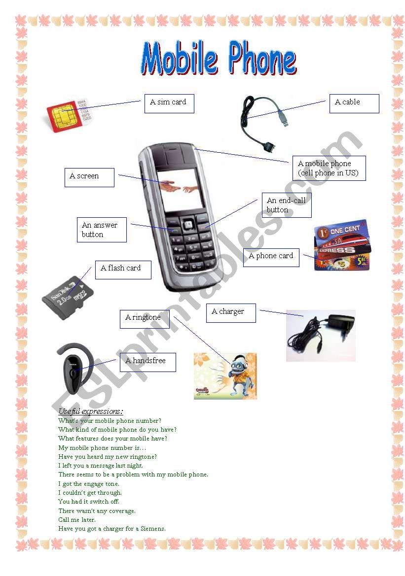 Mobile phone worksheet