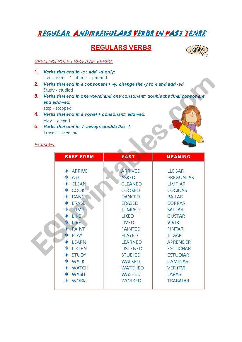 REGULAR AND IRREGULARS VERBS IN PAST TENSE - ESL worksheet by jennycita