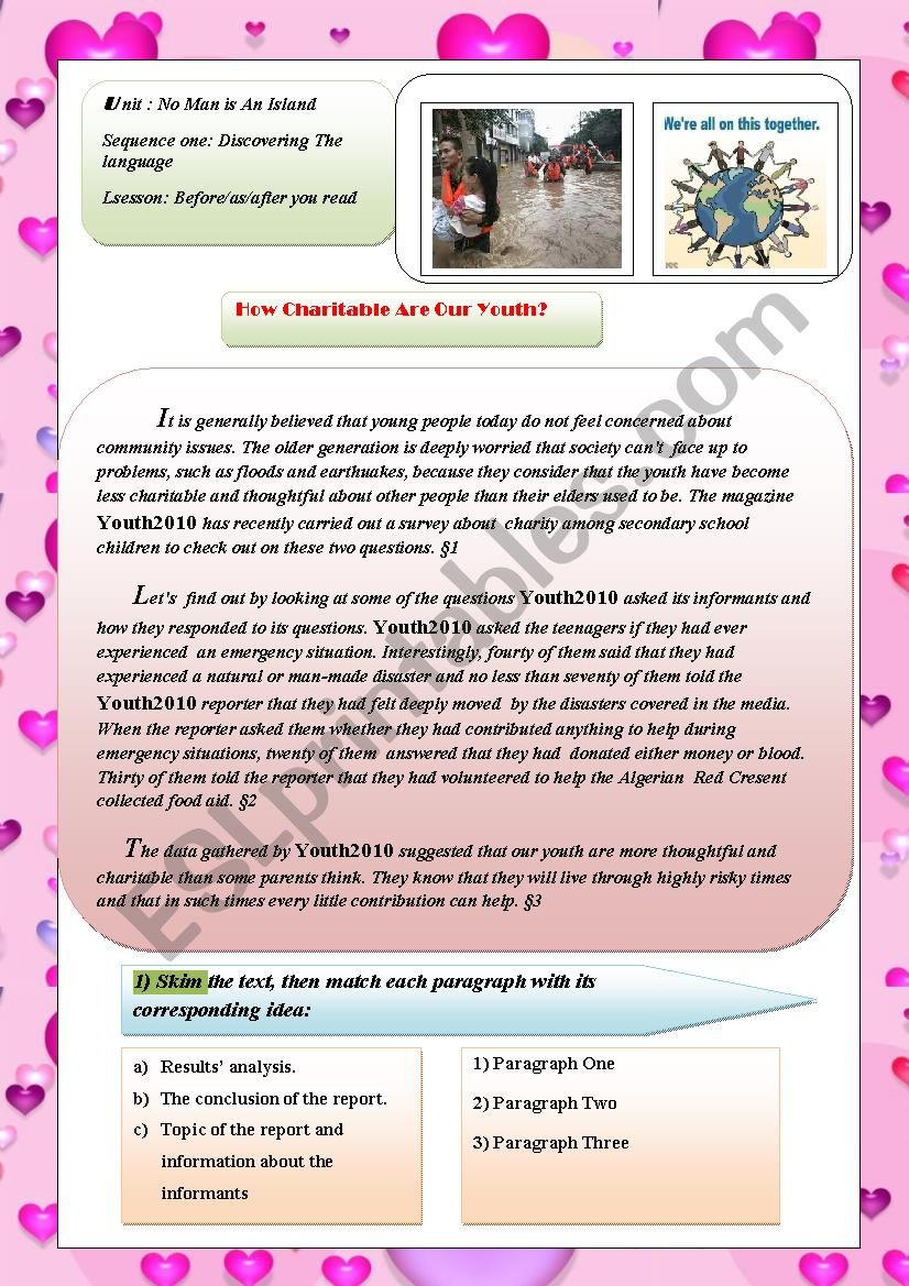 How Charitable Are Our Youth? worksheet