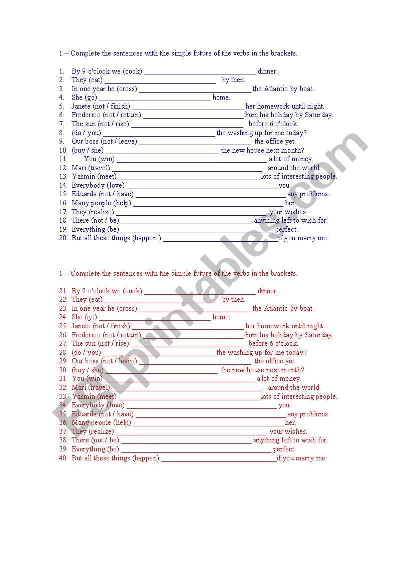 Will - exercises worksheet