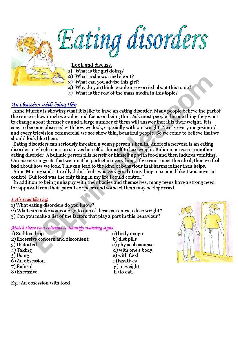 English Worksheets Eating Disorders