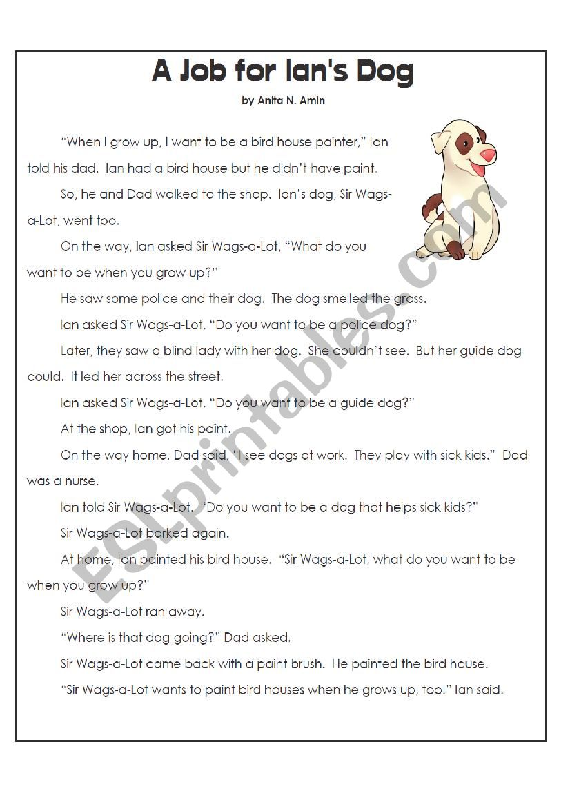 - Ians Dog Reading Comprehension With Questions And Answers - ESL
