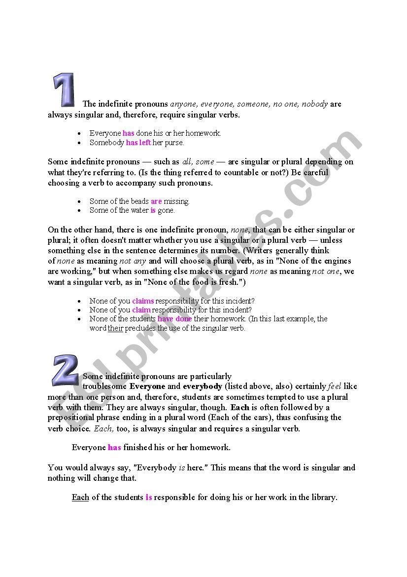 Subject Verb Agreement Rules - ESL worksheet by karladeyanire