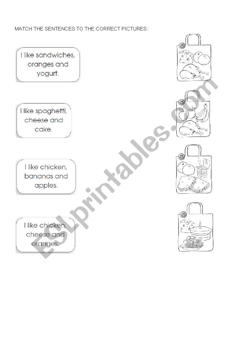 Match the food items worksheet
