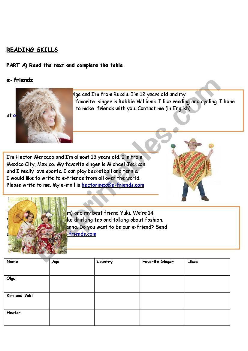present simple reading worksheet