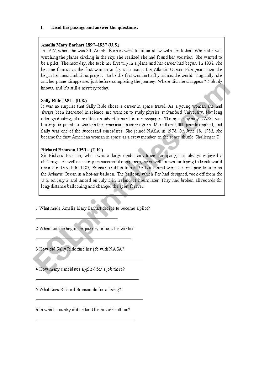 Narrative Tenses in a Reading exercise
