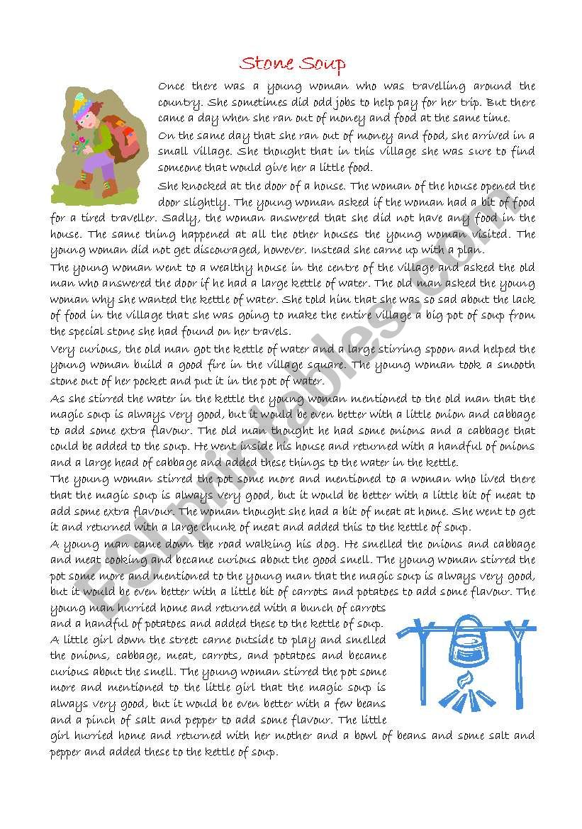 graphic regarding Stone Soup Story Printable titled STONE SOUP - ESL worksheet by way of scgonz