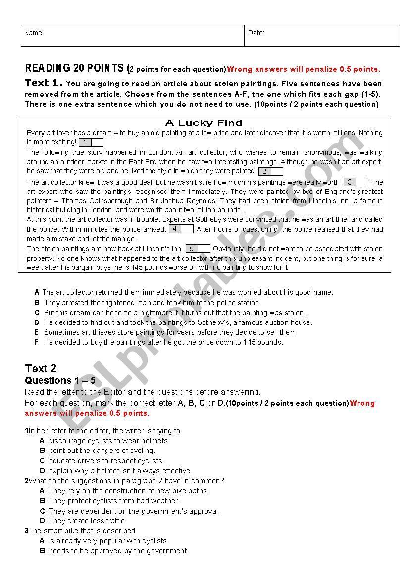 Reading diagnostic test worksheet