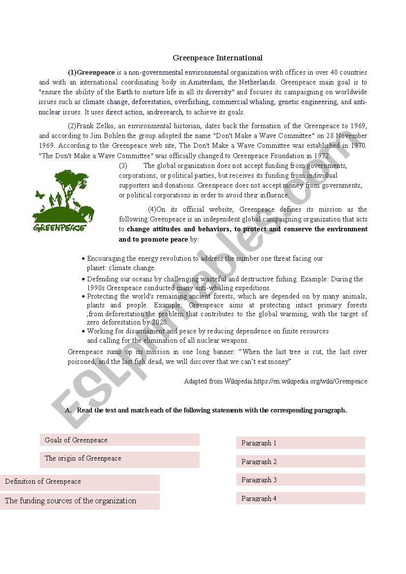 Greenpeace International worksheet
