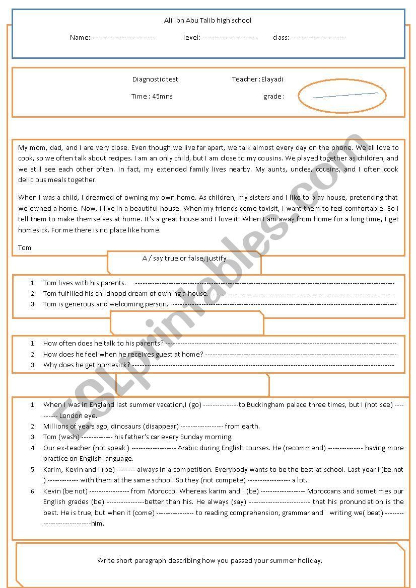 diagnostic test 1bac worksheet