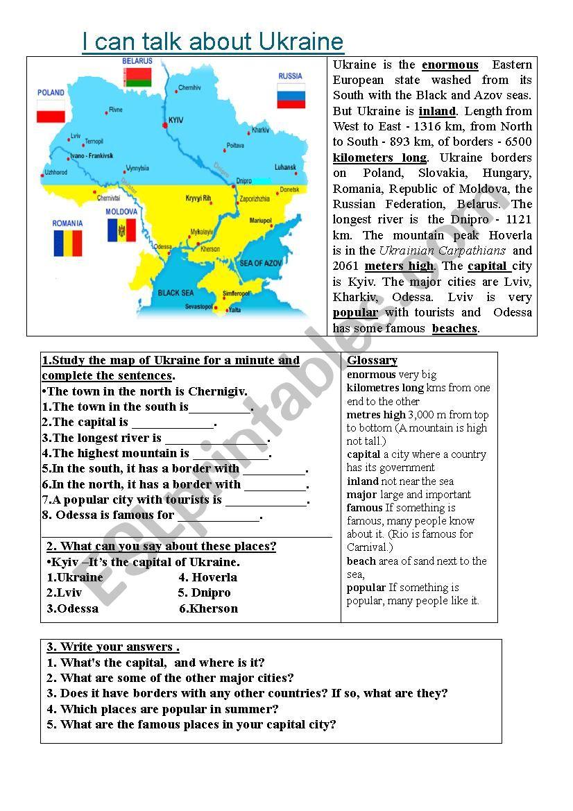 I can talk about Ukraine worksheet