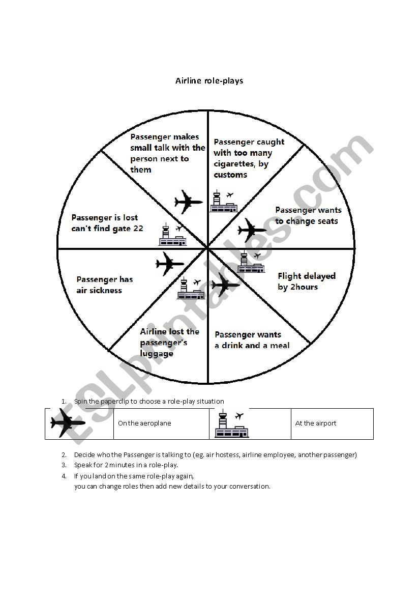 Airline roleplays worksheet
