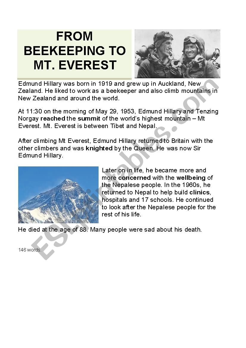 Sir Edmund Hillary worksheet
