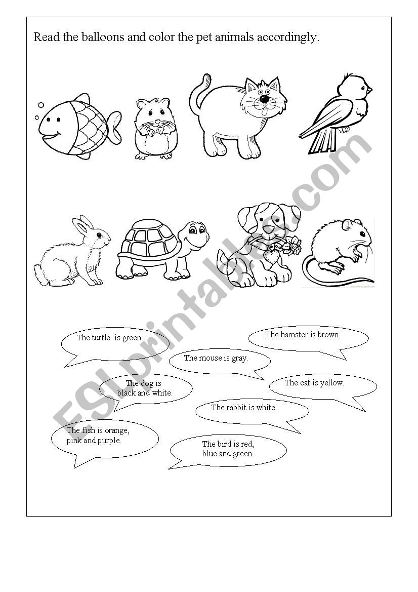 Read and color the pets worksheet