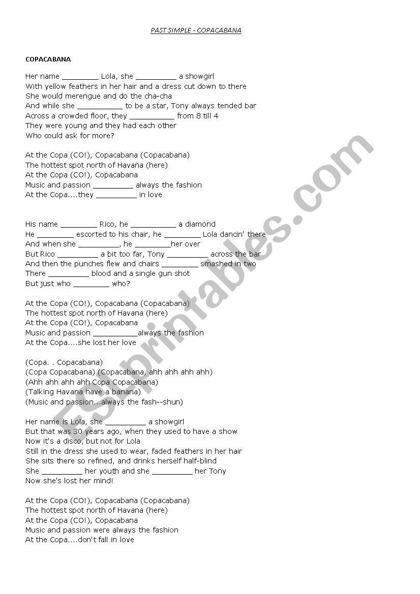 Past Simple - song - ESL worksheet by roozalka