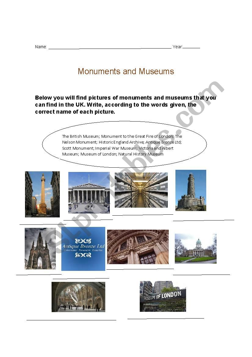 Monuments and museums worksheet