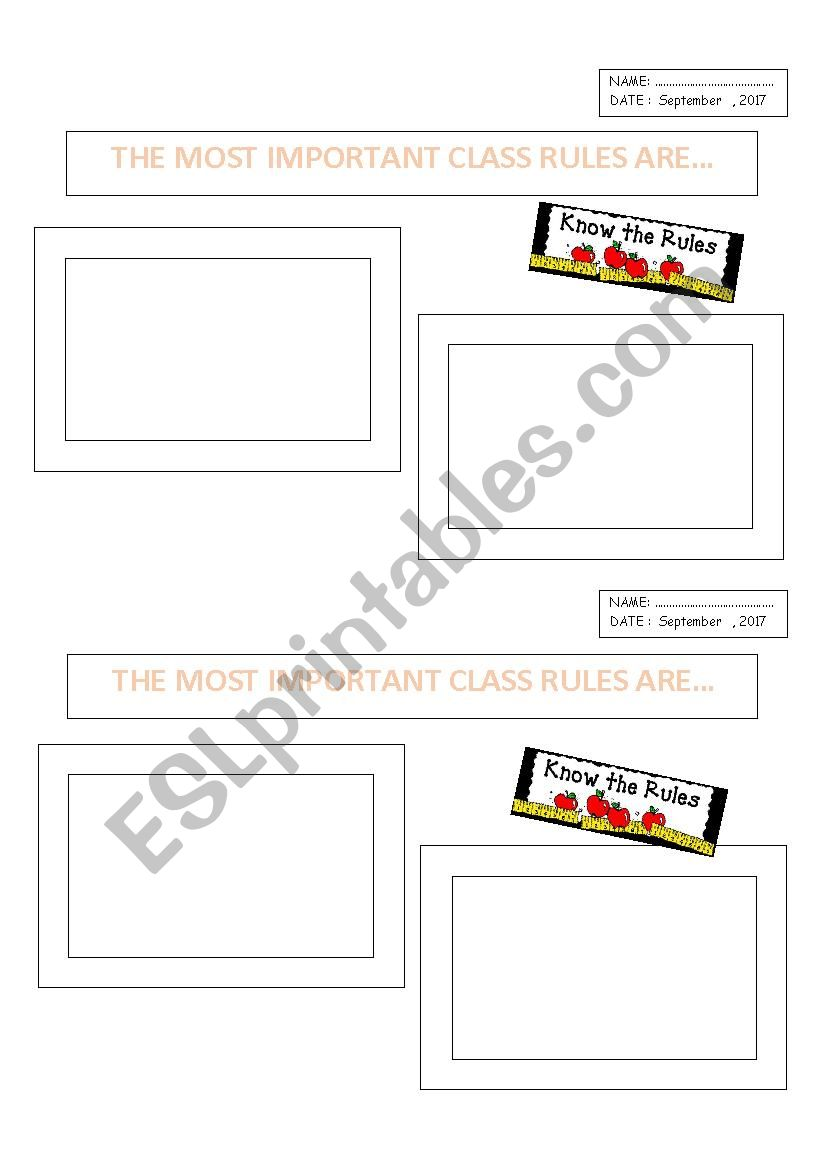 Most Important Class Rules worksheet