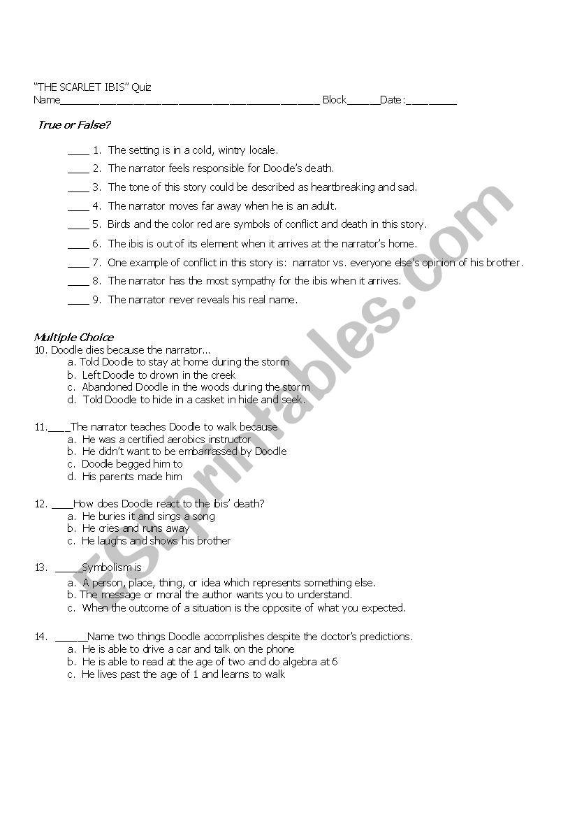 Scarlet Ibis quiz - ESL worksheet by seahorsie